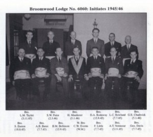 Broomwood Lodge No.6060: Initiates 1945/46